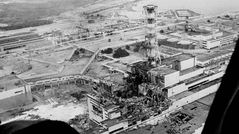 Picture of the explosion of Chernobyl caused by a nuclear accident.