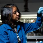 Young Middle Eastern Female Scientist conducting groundbreaking research